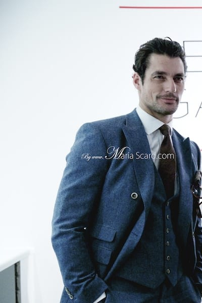 David Gandy REISS blue suit London Collections Men 2013