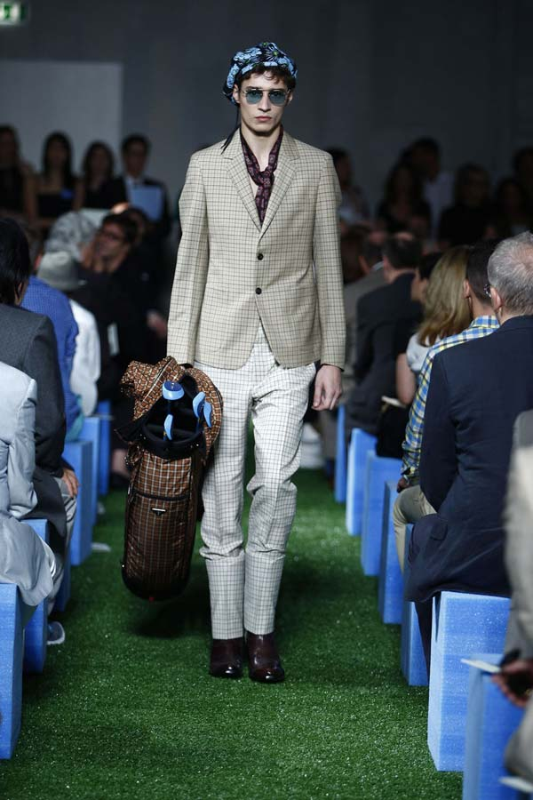 Prada mens linen chequered suit