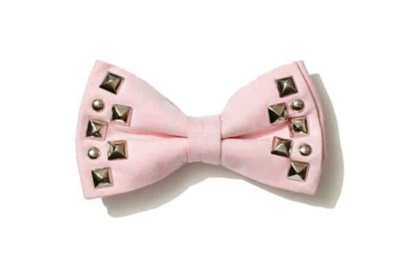 pink,Studded, mens Bow Tie