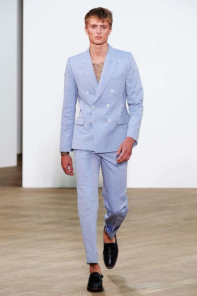 Topman double breasted blue linen suit