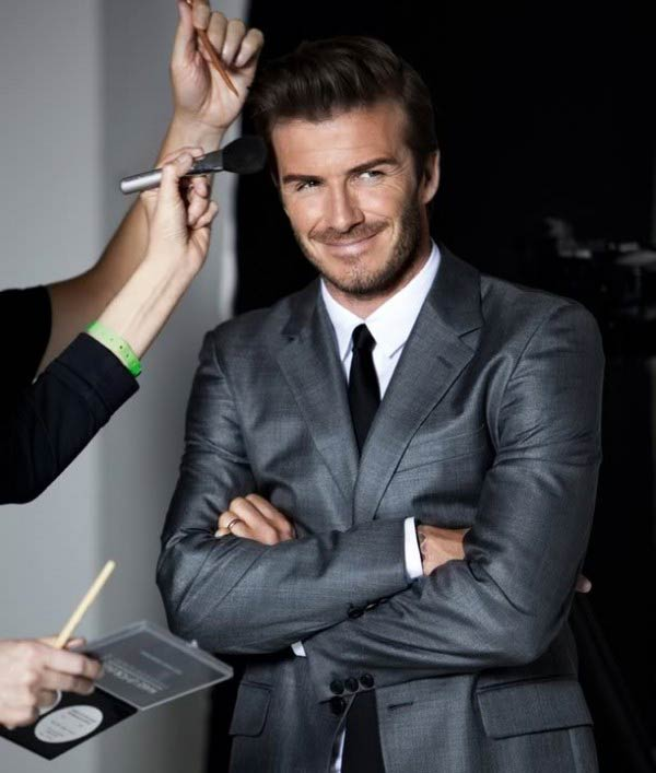 David Beckham loves Male grooming- getting makeup applied