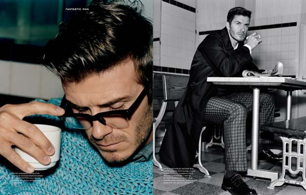 David Beckham wearing glasses and sitting at a school bench