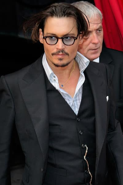 johnny depp 2012 three pieces suit plus round eyewear