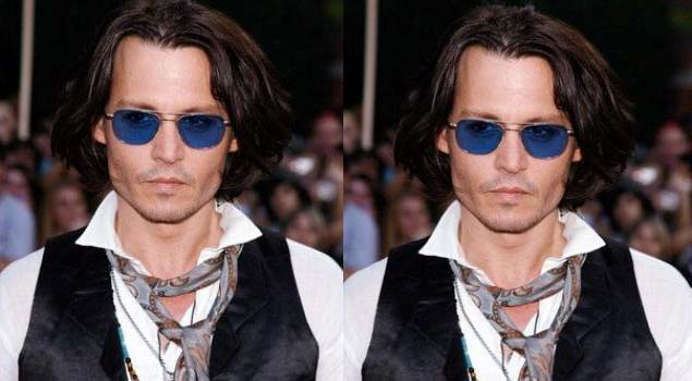 Johnny depp wearing a neck tie