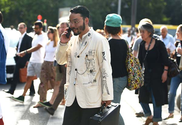Linen jacket for men with art work