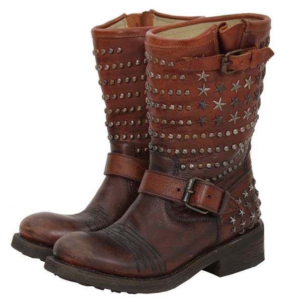 ASH - Tennessee Biker Boot Brown studs