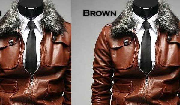 Brown aviator leather jacket