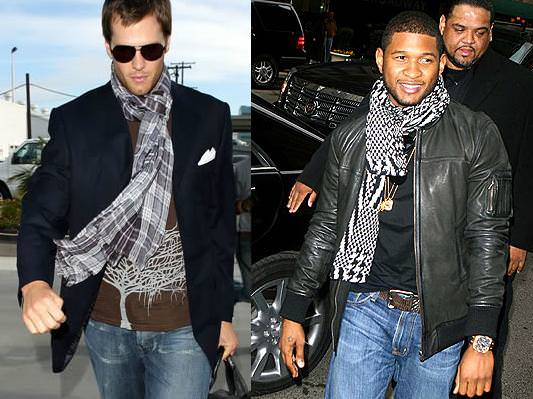 celebrity men wearing  scraves, tom-brady and usher