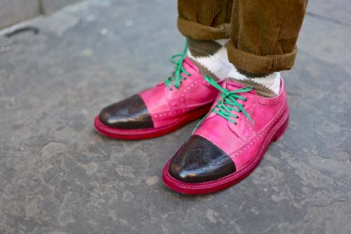 pink mens' brogues
