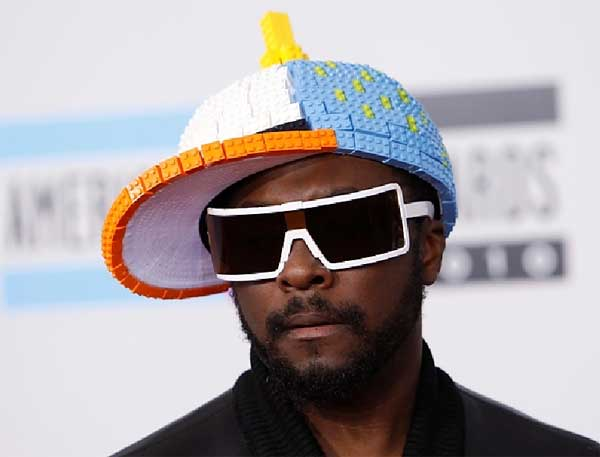 Will.i.am wearing a lego hat