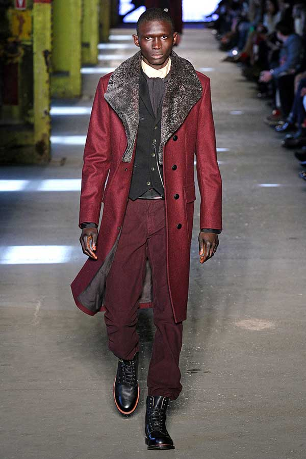 Burgundy winter jacket with trousers for men