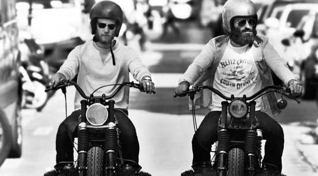 Blitz Motorbike- owners Fred and Hugo riding in Paris