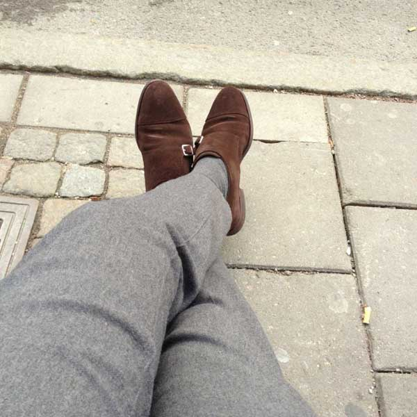 grey woold pants - double monk strap shoes brown