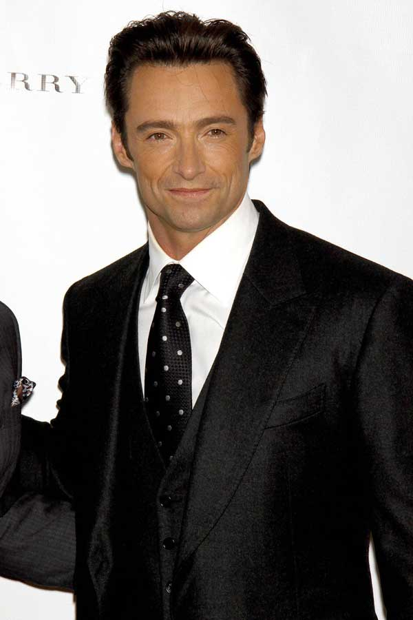 Hugh Jackman wearing three piece suit for Burberry
