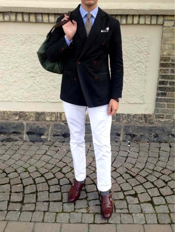 white pants black double breasted jacket - style - double monk strap shoes