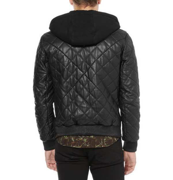 Givenchy, contrast front quilted leather bomber jacket