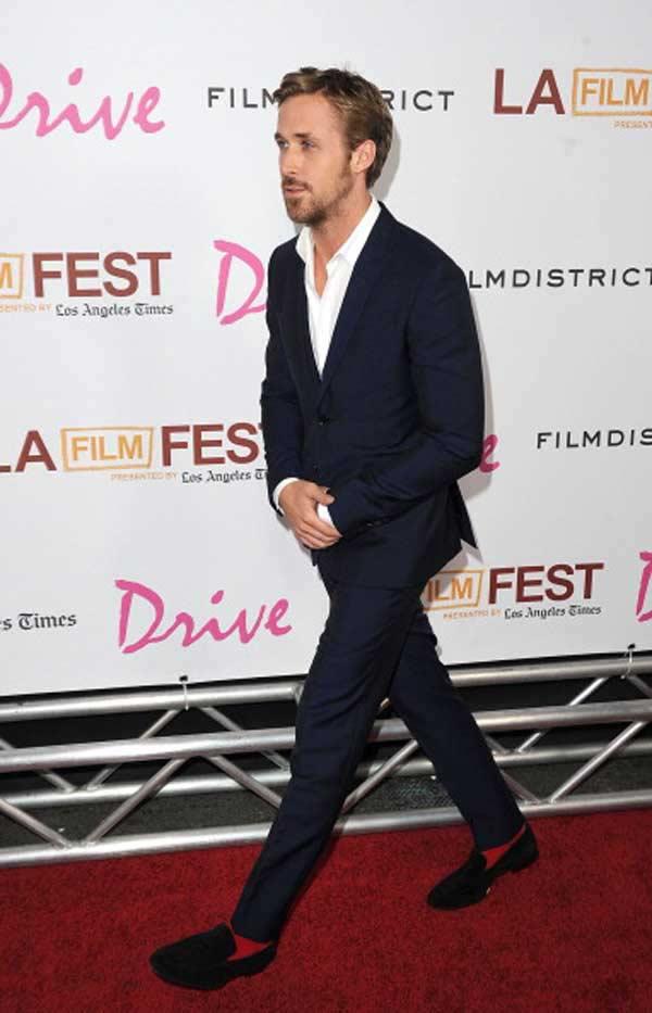 ryan gosling red socks dress slipper at Drive movie premiere