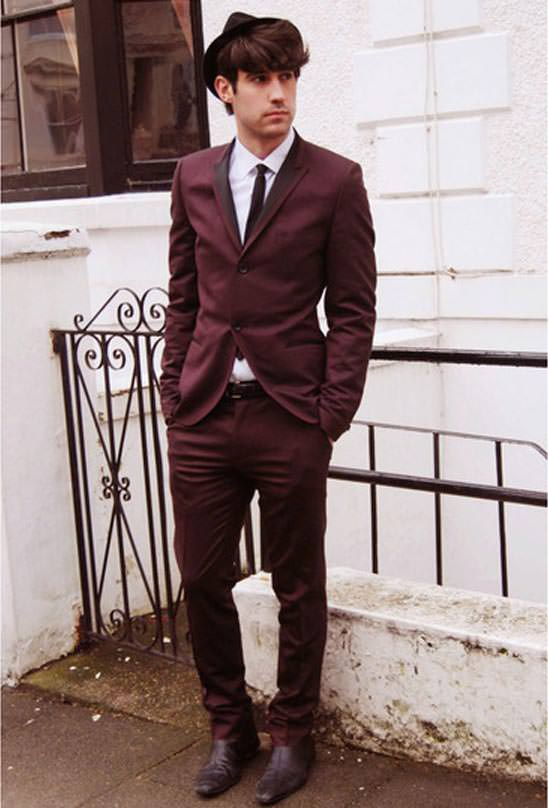 TOPMAN burgundy suit 2013