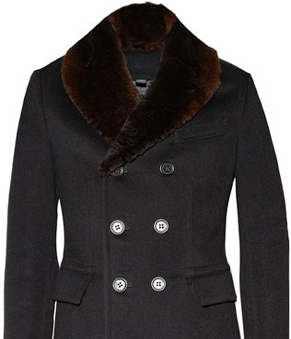 burberry prorsum black fur collar wool coat
