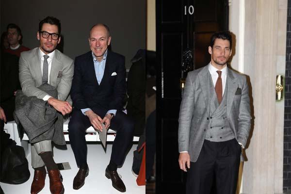 David Gandy with Dylan Jones  London Collections Men 2013 - 2