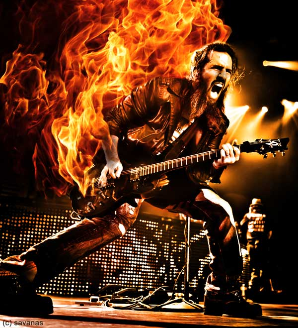 Bumblefoot - (photo by Katarina Benzova, art by SavanasArt) fire guitar