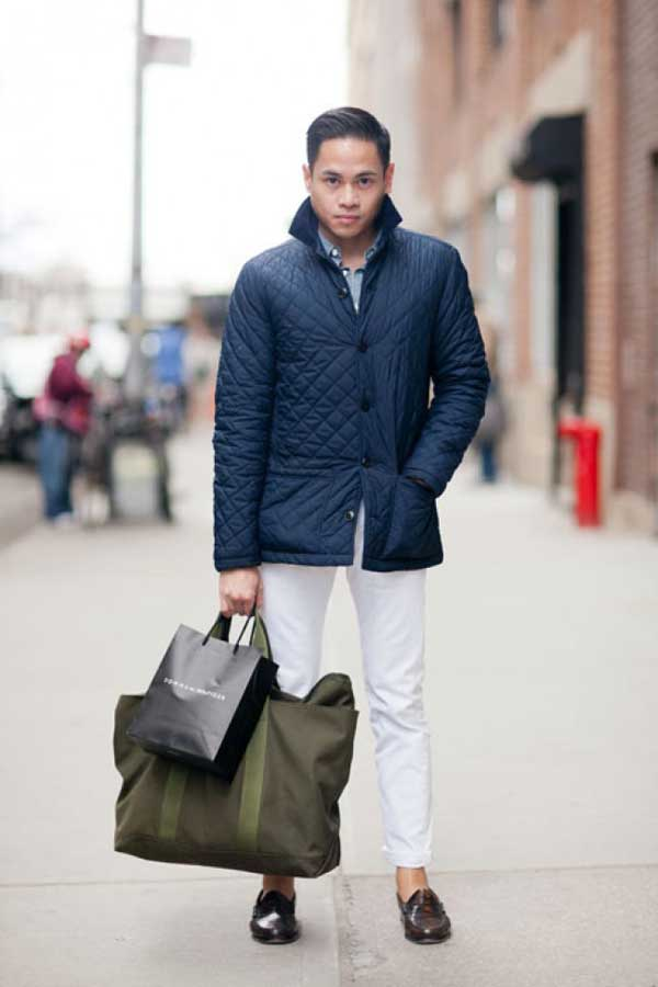 Quilted navy blue jacket spring 2013