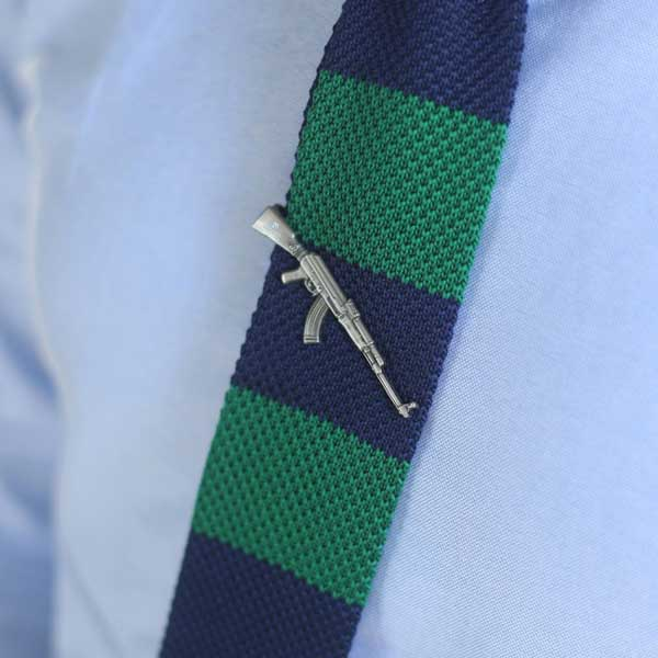 Ties for men - Knitted tie with machine Gun tie clip