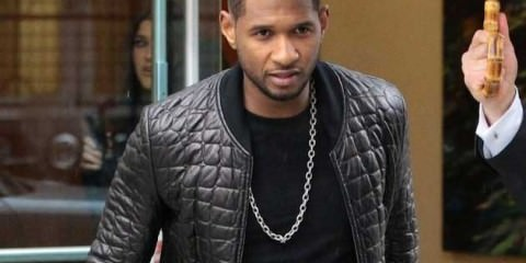Usher - black quilted bomber jacket 2013