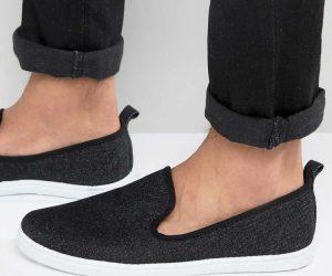 New Look Slip On Plimsolls In Black