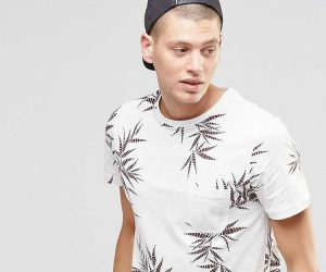 T-Shirt With All Over Leaf Print
