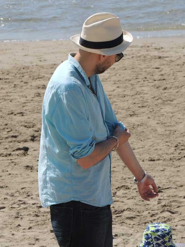 Blue linen for men and white fedora hats 2013