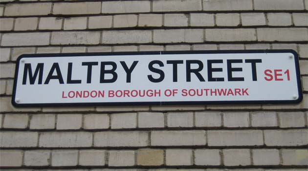 maltby street market London - street sign
