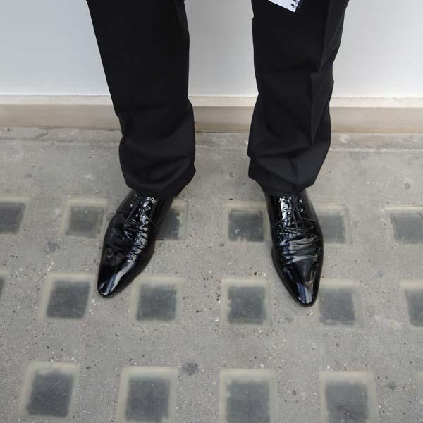 Dolce & Gabbana Menswear Store Opening in Bond street London - Zoom in on black pointy shoes