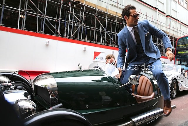 David Gandy stepping out of a 3 wheeler Morgan