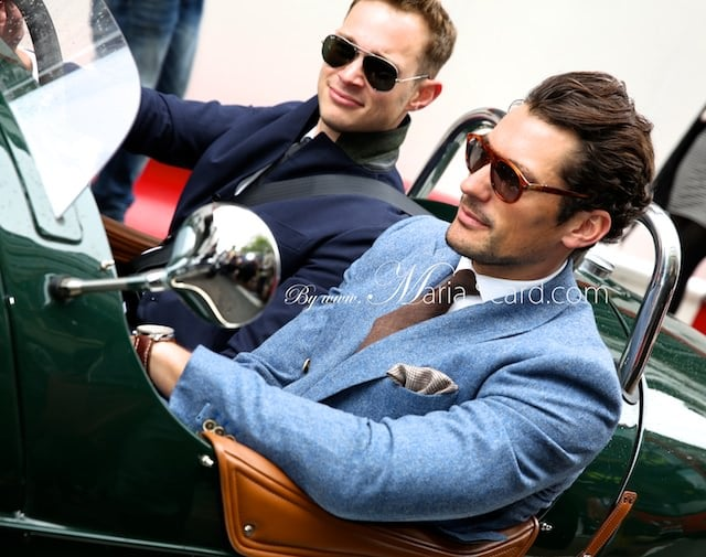 David Gandy driving a three wheeler Car at the London Collections Men event.