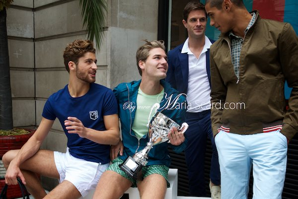 Orlebar Brown - Monaco Collection Shorts - Holding trophy on podium