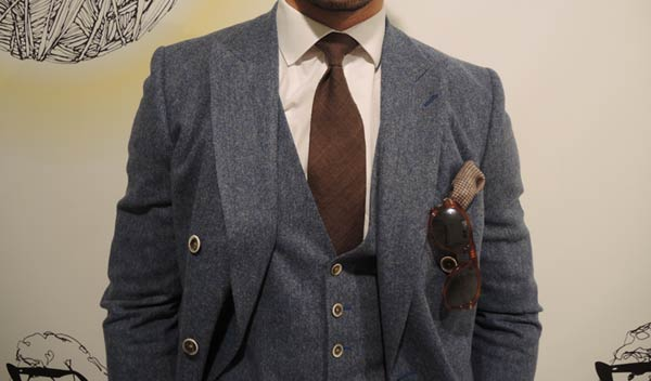 david gandy reiss three piece suit worn at London collections men