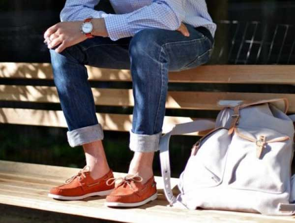 Boat shoes for men - Orange Suede
