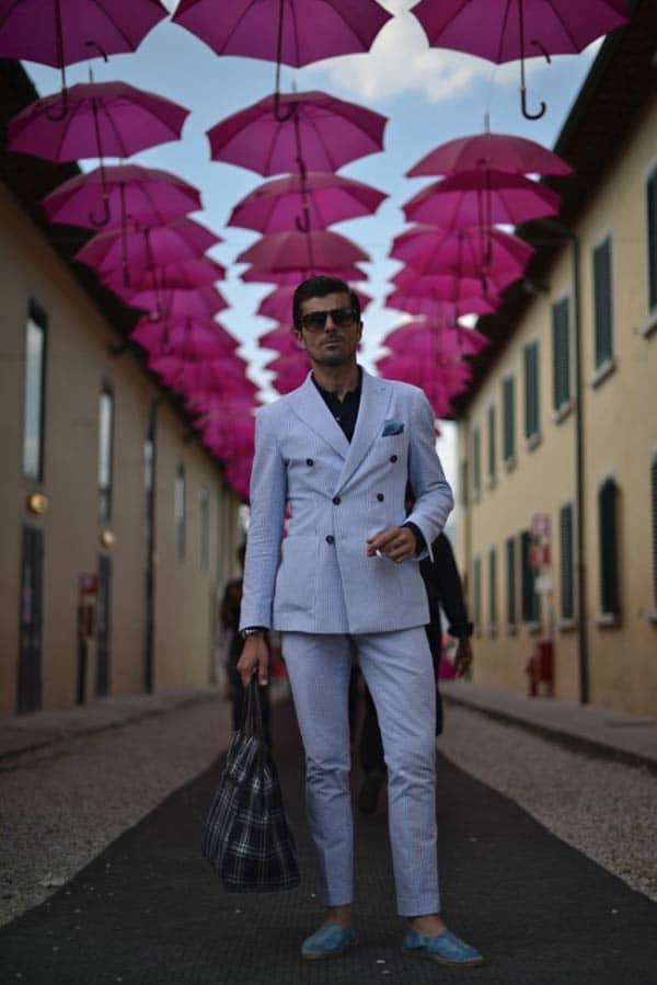 Pitti Uomo Double Breasted pale blue Linen Suit