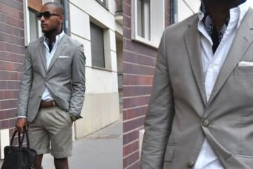 Suit shorts for men grey summer