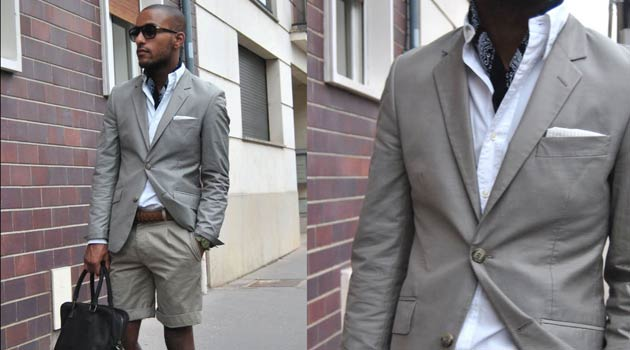 Suit shorts for men grey summer and classic white shirt