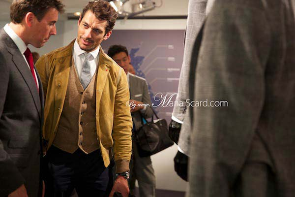 David Gandy wearing a waistcoat at London Collections Men