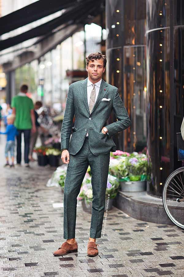 Jonathan Lindeberg green suit menswear
