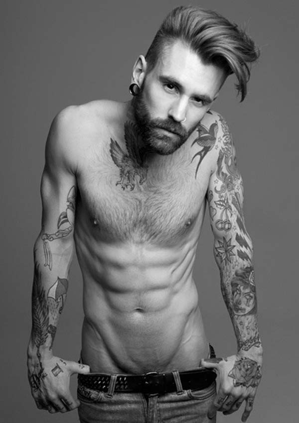 Ricki Hall - Tattoo and Beard Male Model