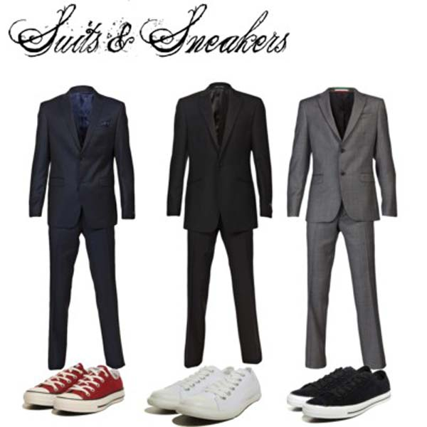 Suits worn with sneakers for men