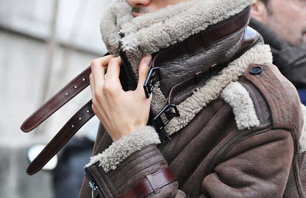 Burberry Shearling Bomber Jacket Brown Leather