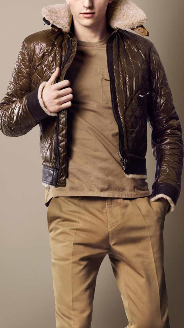 Burberry sport collection shearling quilted bomber jacket
