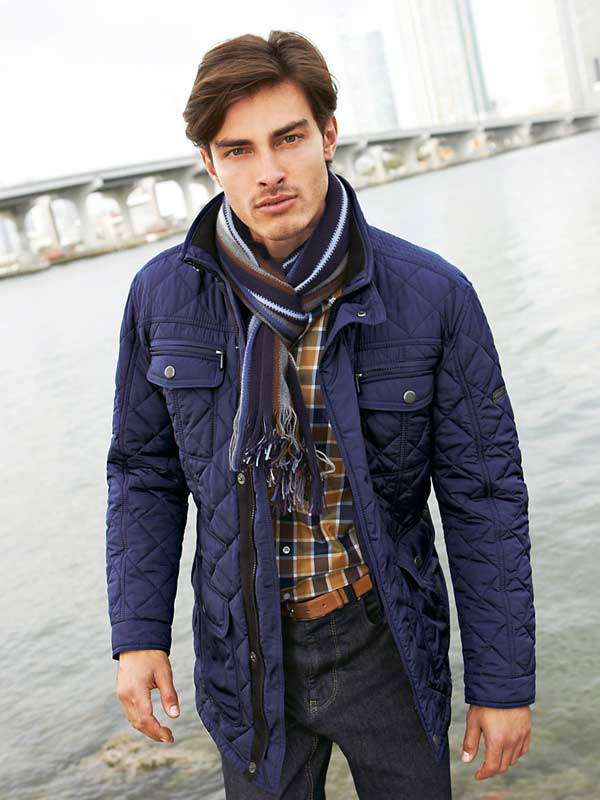 Dark Navy blue quilted jacket with scarf