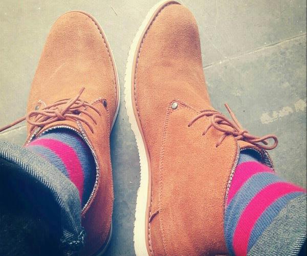 Desert Suede Boots Striped Socks