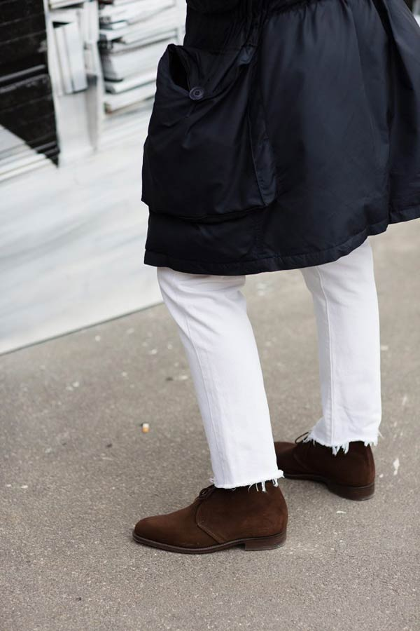 Desert suede boots with white jeans or denim